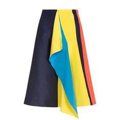 Roksanda  Compton Drape Skirt (1,245 BAM) ❤ liked on Polyvore featuring skirts, yellow, silk skirt, yellow a line skirt, silk a line skirt, a line skirt and knee length a line skirt