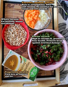 Ingredients for a healthy white bean swiss chard soup. Packed with nutrients and antioxidant, see how you can benefit from cooking something simple and easy without compromising on the taste! http://pickledplum.com/vegetarian-bean-chard-soup-recipe/