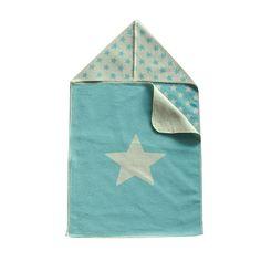 Babydecke und Puckdecke aus Baumwolle, türkis mit Sternen, von David Fussenegger