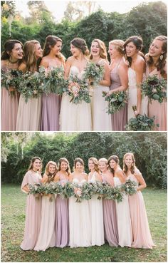 I think I like warm neutrals like this with a dusty blue ribbon; Bridesmaid fashion, leafy wedding bouquets, blush colored and lavender bridesmaid dresses, mismatched styles // Branches Wedding Co. Blush Colored Bridesmaid Dresses, Wedding Bridesmaid Dresses, Wedding Attire, Wedding Bouquets, Different Bridesmaid Dresses, Bridesmaid Outfit, Pink Dresses, Flowy Dresses, Lavender Dresses