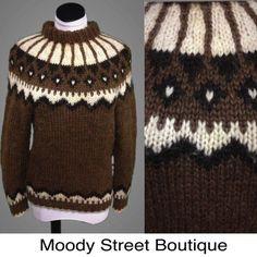 Vtg Fair Isle Sweater 100% Wool Hand Knit Mohair Nordic Icelandic Ski Cowichan #HandKnit #Crewneck