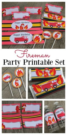 Fireman printables are great to use for easy party decoration when hosting a Fireman birthday party. The collection includes food table tents, water or soda bottle labels, cupcake toppers / tags and Hershey bar wrappers which are perfect to use for party