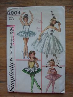 vintage 1965 childs BALLET costume simplicity sewing pattern  SIZE 6 tutu ballerina hat ruff retro TINY dancer uncut. $10.00, via Etsy.