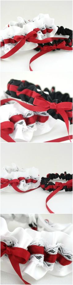 Black And White Wedding Garters With Pops Of Color