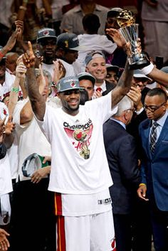 Trophy is his: After last year's disappointing performance in the Finals against the Mavs, LeBron James is named the unanimous MVP of the Finals to go along with his regular-season MVP. LeBron averaged 28.6 points, 10.2 rebounds and 7.4 assists to capture his first career NBA title.