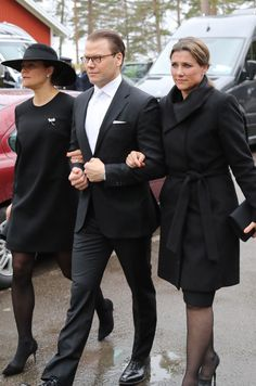 Crown Princess Victoria of Sweden, Prince Daniel of Sweden and Princess Martha Louise of Norway arrive at the funerals of Niclas Silfverschioeld in the Erska church in Allingsaas, Sweden, on May 11, 2017.