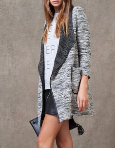 Coat with leather look edging - GREY TOMBOY - WOMAN | Stradivarius Hungary