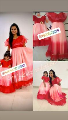 Mom Daughter Matching Dresses, Mom And Baby Dresses, Mother Daughter Outfits, Flower Girl Dresses, Kids Blouse Designs, Bridal Blouse Designs, Mom Baby, Mother And Baby, Simple Frocks