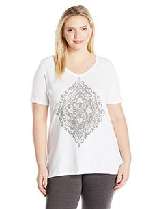 9a12f487fae Just My Size Women s Plus Size Printed Short-Sleeve V-Neck T-Shirt