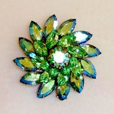 1288~Vintage Signed Weiss Light Green AB Rhinestone Flower Pinwheel Brooch Pin** #Weiss
