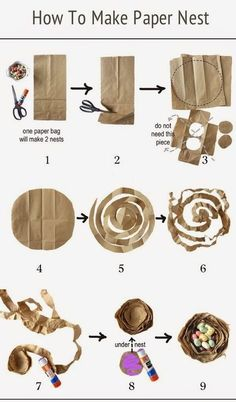 The paper bird's nest was made from a regular brown lunch bag.The paper is lighter weight as compared to kraft paper or card stock and easier to wrap with. Diy For Kids, Crafts For Kids, Bird Nest Craft, Paper Birds, Bird Theme, Nature Crafts, Brown Paper, Spring Crafts, Easter Crafts