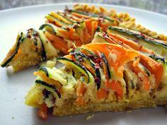 Potrawy Półgodzinne: Tarta cukiniowo marchwiowa na spodzie z kaszy jaglanej Raw Vegan, Sushi, Healthy Recipes, Healthy Food, Clean Eating, Food And Drink, Gluten Free, Cooking, Ethnic Recipes