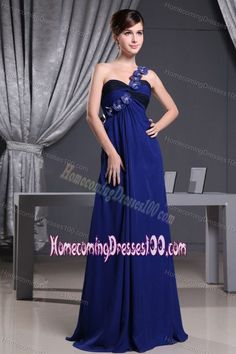 floor-length  Hand-made Flowers Decorate One Shoulder for Homecoming Queen Dresses in Blue