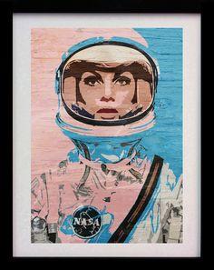 Astronaut Girl Pop Art (Limited Edition of 100) - A3 Space Helmet Poster Street Art Print Illustration Woman Decor Wall Art Gift Rare