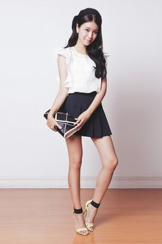 Tricia Gosingtian - Kate Katy Top, Kate Katy Skort, Sleeh Heels, Persun Bag, Emoda Beret - 070314