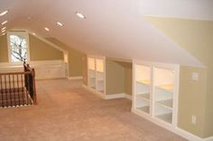 """Finished attic with built in storage.great use of normally """"unusable"""" space. Finished attic with built in storage.great use of normally unusable space. Attic Master Bedroom, Attic Bedrooms, Attic Bathroom, Diy Bedroom, Bedroom Walls, Upstairs Bedroom, Attic Bedroom Ideas Angled Ceilings, Eaves Bedroom, Upstairs Landing"""