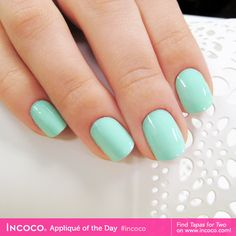 Hungry for Tapas for Two? This sea green shade looks absolutely refreshing on your nails! #Incoco #nailstrips #nailpolish #manicure