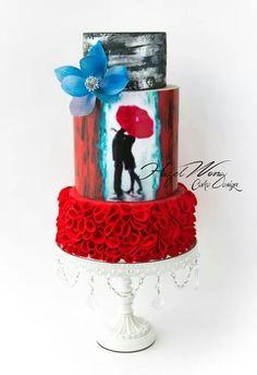 Cake Art. Kissing in the rain.