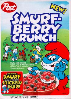 Smurf-Berry Crunch Cereal: All Berries. Clearly Smurf-Berry Crunch was ahead of it's time! (25 Cereals From The '80s You Will Never Eat Again)