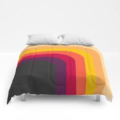 Abstract Geometric Retro Color 70s Vintage Pattern Comforters