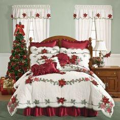 Christmas Quilt - Poinsettia Bedding Z Cozy Christmas, All Things Christmas, Christmas Holidays, Christmas Crafts, Christmas Decorations, Christmas Trees, Christmas Bedding, Christmas Interiors, Poinsettia