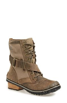 Free shipping and returns on SOREL 'Slimboot™' Waterproof Lace-Up Boot (Women) at Nordstrom.com. A tough-yet-trendy boot cast in waterproof leather with panels of canvas makes an ideal companion for icy or snowy commutes. A rubber-treaded leather-wrapped heel adds just enough height to keep you feeling chic without sacrificing practicality.
