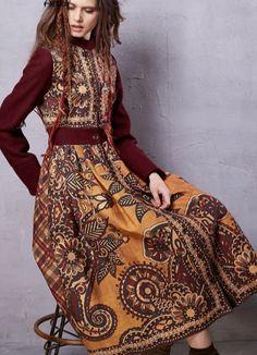 Artka Women's Winter New Ethnic Printed Woolen Coat Vintage Stand Collar Long Sleeve Outerwear Long Coat - CEOsShop Folk Fashion, Tribal Fashion, Retro Fashion, Fashion Show, Fashion Design, Gypsy Style, Hippie Style, Hippie Chic, Moda Popular
