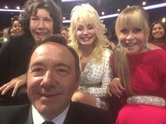 "Kevin Spacey: ""My favorite selfie from the Emmys: Look at these legends behind me. No way to feel like a loser with this Triple Crown! """