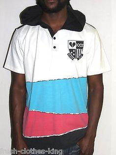 PRPGNDA Hoodie New Splash Print Mens Polo Stripe Shirt Choose Size