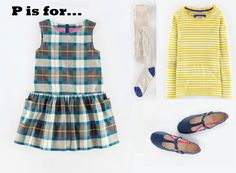 MiniBoden Back to School Look #3: Pinafore Check Dress, Ribbed Tights, Super Soft Pointelle T-Shirt, T-Bar Flats