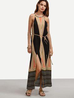 Multicolor Print Spaghetti Strap Tie Waist Split Dress -SheIn(Sheinside) Mobile Site