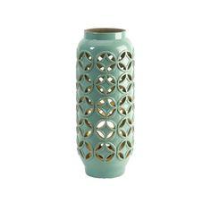 17.5 Modern Mint Green Geometric Patterned Cutwork Ceramic Candle Holder Lantern