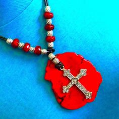 GIANT RED GEMSTONE Pendent 85 X 70 mm+Sale+Plus Silver Cross 60 mm+Leather Cord Necklace 30 Inch+Native American Made+Free Ship* by TjeansJewelry on Etsy