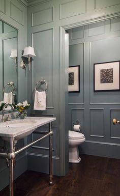 Powder Room, Colonial Style Custom Home in Atherto. - - Powder Room, Colonial Style Custom Home in Atherto. Grey Bathrooms, Beautiful Bathrooms, Gold Bathroom, Bathroom Faucets, Bathroom Yellow, Bathroom Wall, Concrete Bathroom, Luxury Bathrooms, Glass Bathroom