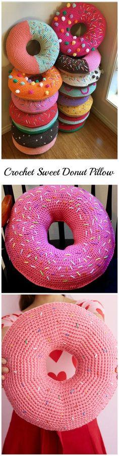 Crochet donut pillow