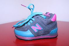 New Balance Shoes 3C Gray Pink Blue 574 Girls Toddler Running Suede NB Sneakers #NewBalance #Athletic