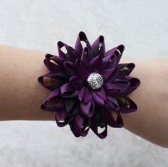 Purple Bracelet Flower Wrist Corsage Mother of the Bride Flower Mother of the Groom Corsage Wrist Flowers Deep Purple Aubergine