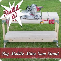Miter Saws How to build a mobile miter saw stand using the Simpson Strong-Tie Workbench Hardware Kit and construction lumber. Miter Saw Bench, Diy Miter Saw Stand, Mitre Saw Stand, Simple Workbench Plans, Diy Workbench, Workbench Organization, Workbench Designs, Mobile Workbench, Best Woodworking Tools