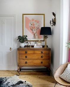 Jungle Glam: The Reveal of our Master Bedroom Makeover - Swoon Worthy - vintage chest of drawers with large artwork and glam accessories - Glam Bedroom, Bedroom Vintage, Home Decor Bedroom, Bedroom Ideas, Bedroom Corner, Bedroom Artwork, Vintage Bedroom Furniture, Men Bedroom, Vintage Room
