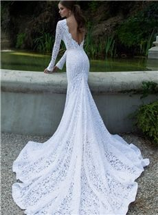 Popular Element Lace Wedding Dresses High Collar Sexy Backless Long Sleeves Chapel Train Bridal Gown