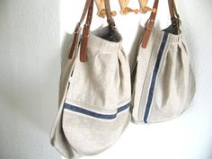 XL French Linen Bag - blue striped Beach Bag- Leather handles- Unique. Handmade. Sand - blue stripes on Etsy, $132.37 AUD