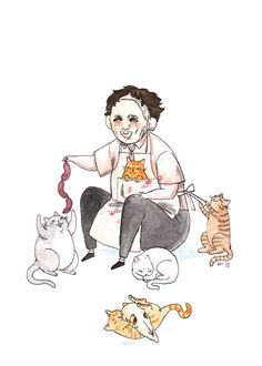 Print - Texas Chainsaw Meowssacre - Leatherface with Cats Print Slasher Movies, Horror Movie Characters, Horror Icons, Horror Films, Arte Horror, Horror Art, Imprimibles Halloween, The Awkward Yeti, Latest Horror Movies