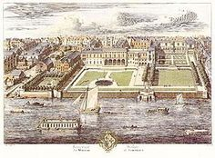 Old Somerset House on the Strand, in a drawing by Jan Kip published in 1722, was a sprawling and irregular complex with wings from different periods in a mixture of styles. The buildings behind all four square gardens belong to Somerset House.