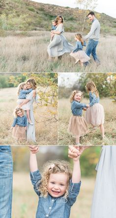 Love this family portraits, outfit ideas for family pictures, denim, soft and elegant