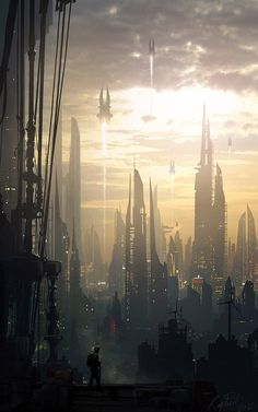 Insane Fantasy / Sci-fi Art by Raphael Lacoste Future City 7 Fantasy City, Fantasy Places, Fantasy World, Arte Sci Fi, Sci Fi Environment, Environment Design, Sci Fi Stadt, Sci Fi Kunst, Science Fiction Kunst
