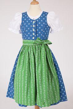 Kinderdirndl von Hammerschmid in blau und grün aus Baumwolle