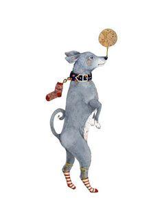 Dog Print Dog Balancing the Globe on his Nose illustration, via Etsy.