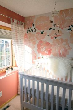 Coral Nursery Inspiration - How Cute are Those Hand Painted Peonies?? A Perfect Coral Acccent Wall