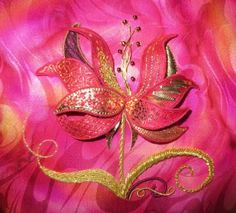 Fire Lily - new design now available with choice of colour options:  pink, purple, blue or green.  Kit $110.00