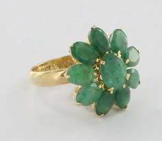 Vintage 14k Yellow Gold Emerald Flower Ring Fine Estate Jewelry Pre-Owned Used 7